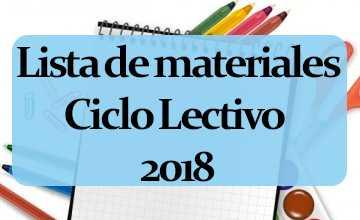 2018 - Lista de Materiales - Nivel Primario